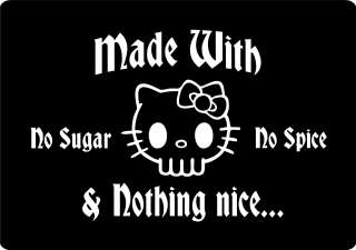 Hello Kitty SKULL Punk Rock EMO *GIRL POWER* T Shirt NEON GRAPHICS NEW