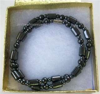 Black Magnetic Hematite Drum Beaded Mans Necklace 18