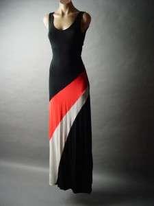 Blk Bold Color Block Cutout Back Resort Lounge Knit Tank Long Maxi fp