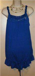 WOMENS MEDIUM MATERNITY TOP SHIRT SUMMER LIZ LANGE BLUE M NEW