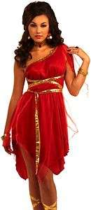 Sexy Womens Greek Goddess Red Dress Halloween Costume 721773658075
