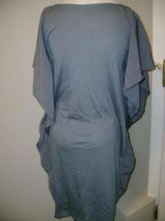 LOGO by Lori Goldstein Knit Caftan Dress with Ruffle Sides XXS Steel