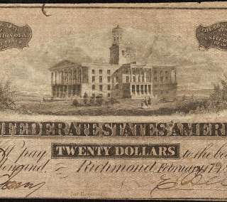 1864 $20 DOLLAR BILL RICHMOND CONFEDERATE CURRENCY CSA NOTE T67 CIVIL
