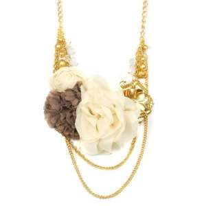 Gold Tone Necklace with Brown and Ivory Fabric Flowers and Beads