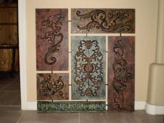 Large Embossed Iron / Metal Wall Decor Rust~Brown~Green