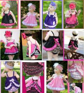 Toddler Ruffle Top Dress+Pants Set Size 0 3Y New Bloomers Nappy Cover