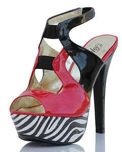 Strappy Red Color Block Zebra Platform High Heels Grog