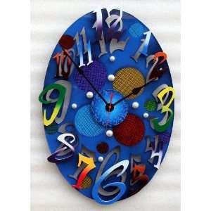 David Scherer Small Modern Oval Blue Wall Clock Home