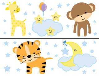 ZOO JUNGLE ANIMALS NURSERY WALL STICKERS DECALS BORDER