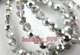 SHIPPING 98pcs Faceted Glass Crystal Round Beads 3mm G338 Half Silver