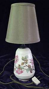 Beautiful Antique Hand Painted Pottery Lamp Linen Shade