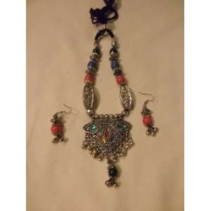 Fashion Jewelry (Navratri)   Oxidized Metal Necklace with Earrings in