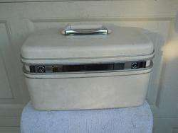 Vintage Cream Marble Hard Shell Luggage Samsonite 15x8x9 Clean Inside