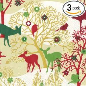 Ideal Home Range Luncheon Size Paper Napkins, Enchanted Forest Pattern