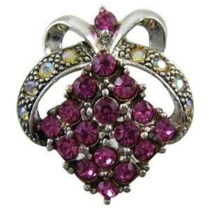 Pink Crystal Hair Pin   Pink Crystal Bow Style Hair Pin Toys & Games