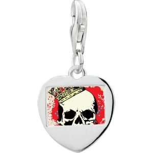 925 Sterling Silver Gold Plated Music Halloween Skull And Blood Photo