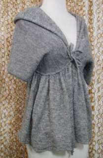 MOTH Anthropologie Womens Soft Alpaca Blend Gray Hooded Cardigan