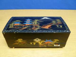 Large Vintage Japanese Painted Wooden Jewelry Box T82