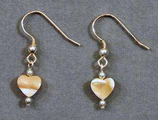 Natural Mother of Pearl Hearts & Sterling Silver Earrings FREE