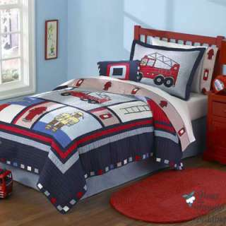 Boy Fire Truck Twin Quilt Kid Bed In A Bag Bedding Set