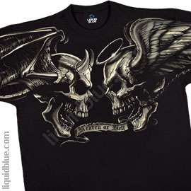 New GOOD AND EVIL SKULLS T Shirt