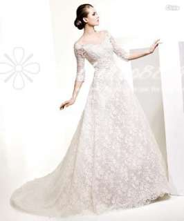 New Sexy Lace Sleeves Vintage Wedding Dresses Bridal Gown Custom Size