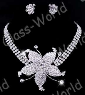 Wedding Queen→Flower Rhinestone Crystal Necklace Earrings Clear Set