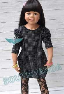 KC014 Black Puff Sleeve Polka Dots Girl Kids T shirts Top Dress Age 3
