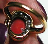 RED CORAL, SEED PEARL & DIAMOND 9ct yellow gold milgrain ring