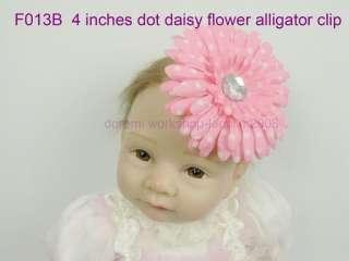 Crochet Headband 5 dot daisy Flowers baby girl hai bows alligator