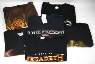 Lot 6 Metal Rock Band Shirt 80s 90s tour Led Zeppelin YES Megadeath