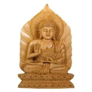 Hand Carved Wood Buddha Statue on Leaf Throne: Home