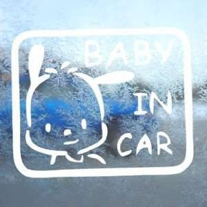 BABY POCHACCO IN CAR ON BOARD White Decal Window White