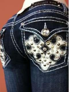 Women Plus Size LA Idol Bootcut Jeans Crystal Fleur De Lis Jewel