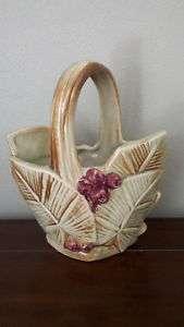 McCoy 1940s Berries and Leaves Basket Planter Vase