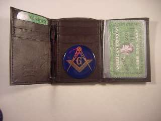 MASON MASONIC BROWN LEATHER TRIFOLD WALLET NEW