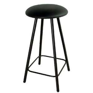 24 High Wrought Iron Straight Leg Round Backless Swivel Counter Stool