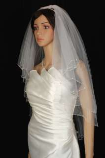 2T IVORY Elbow Crystal Rhinestone Wedding Veil