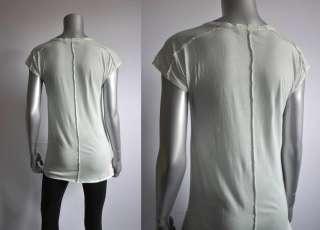 NEW BURBERRY BRIT 175$ raw edge cotton tee shirt top green S