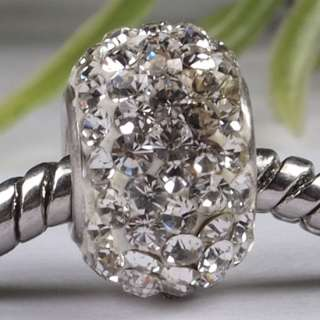 Classic White Czech Crystal 925 Silver Charm Bead