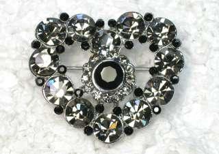 BLACK RHINESTONE CRYSTAL SWEET HEART BROOCH PIN C60