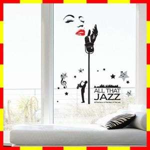 PS58187 JAZZ SINGER Wall Art Deco Decor Mural Sticker