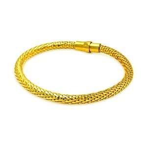 5MM Sterling Silver Italian Bracelets Gold Plated Snake Skin Design