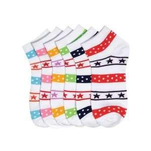 HS Women Fashion Ankle Socks Star Lines Mix Design (size 9