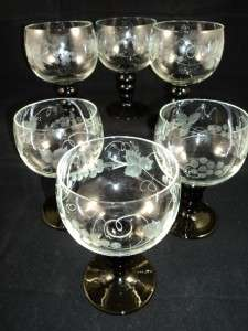 Eched Wine Glass   Grapes Leaves Design   Green Sems   Good