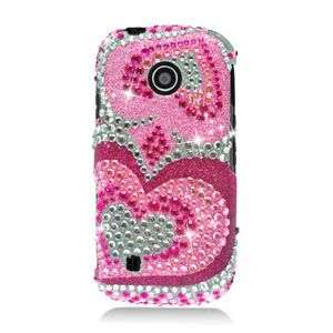 PINK HEART BLING HARD CASE FOR LG COSMOS TOUCH VN270 PROTECTOR SNAP ON
