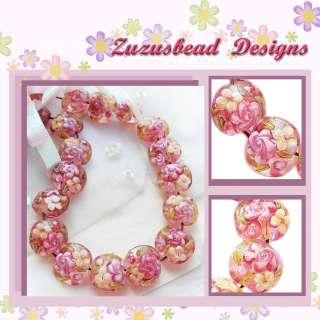 Handmade Lampwork Glass Lentil Beads Crystal Pink Flowers 19mm 8 Beads