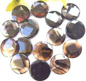 faceted black&coffee Agate 25mm flat round Beads 15