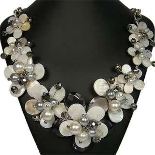 Freshwater Shell & Quartz Flower Statement Necklace Ladies Handmade
