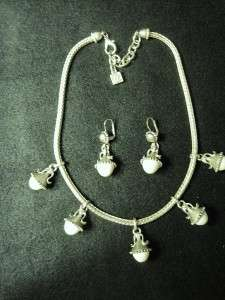KARL LAGERFELD VINTAGE WHITE CAB NECKLACE & EARRINGS